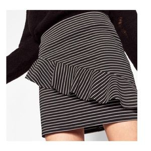 NWT Zara Trf Striped Frill Mini Skirt